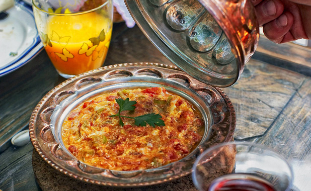 Turkish Menemen (scrambled egg with tomato, pepper and onion)