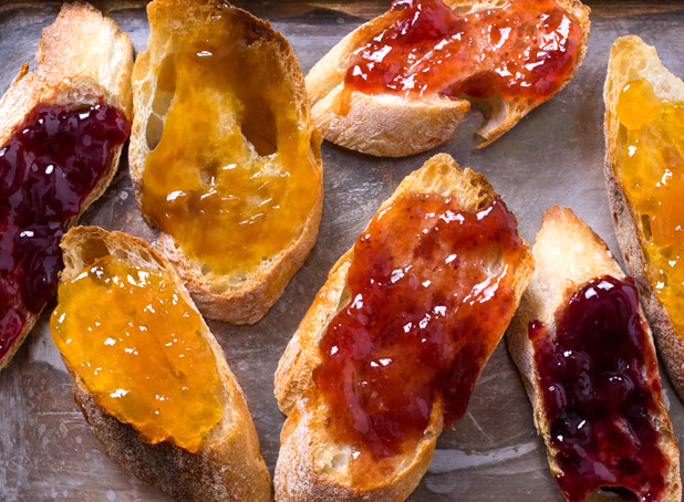 Fresh toasted bread with homemade jams