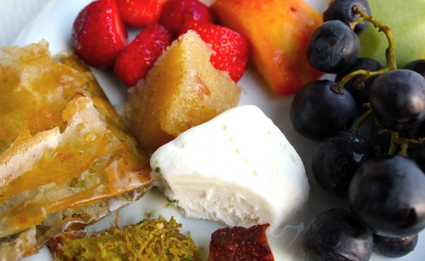 Turkish dessert and fruit plate