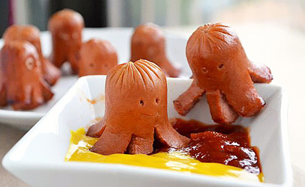 Octopus bangers with ketchup