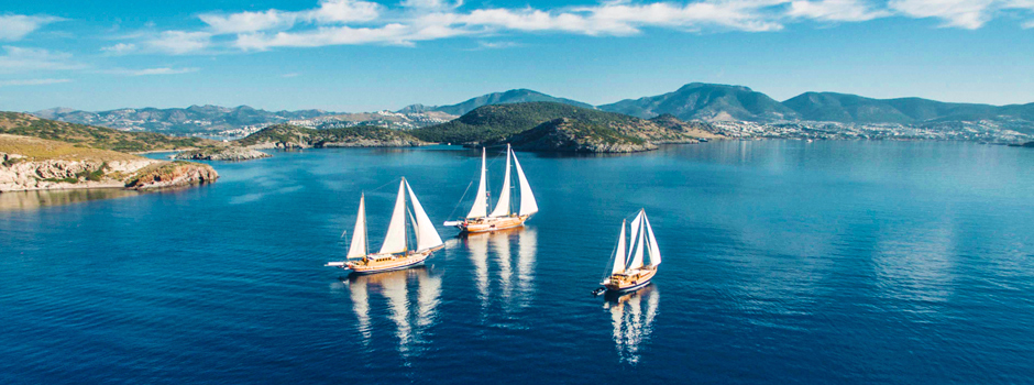Luxury gulet sailing yachts cruising the Turquoise Aegean Coastlines