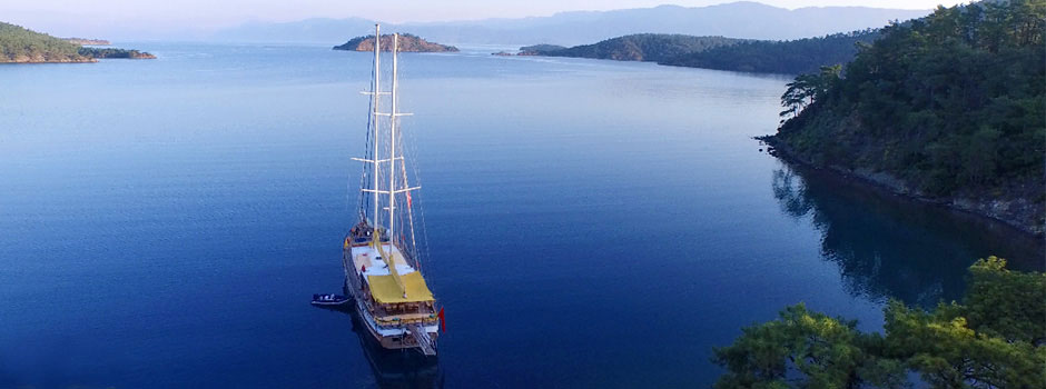 Luxury gulet sailing yachts cruising the Turkish Aegean