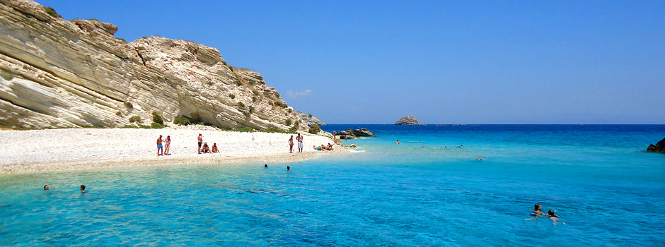 Secluded beach on Leros